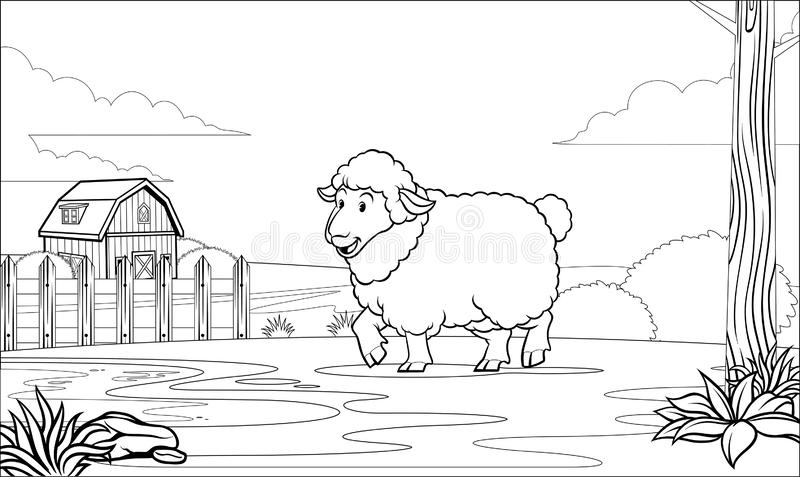 Black and white coloring page sheep in the farm royalty free illustration
