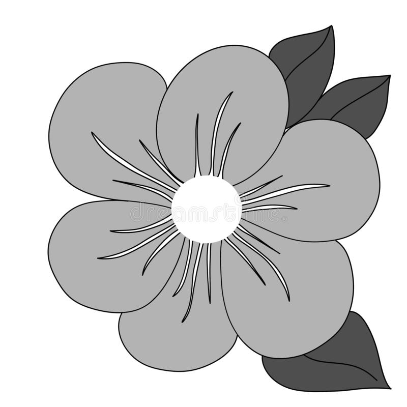 Black and white coloured flower with leaves stock illustration