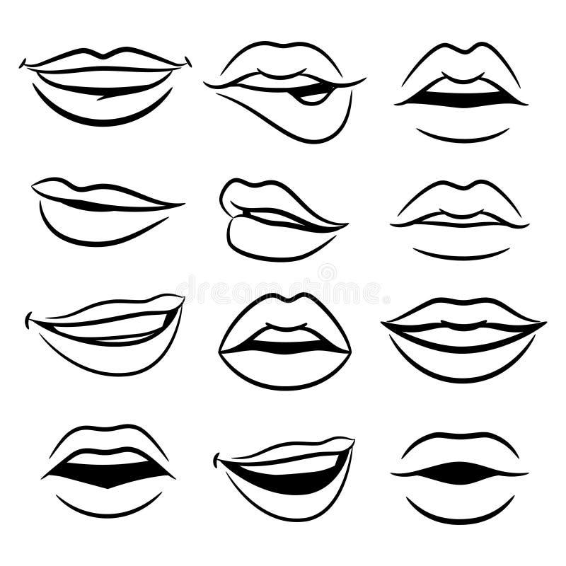 Black and white comic female lips vector set stock illustration