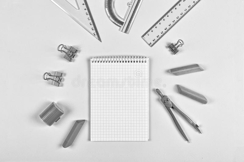 Black and white. concept school, Still life,minimalism, business, planning or education concept. royalty free stock image