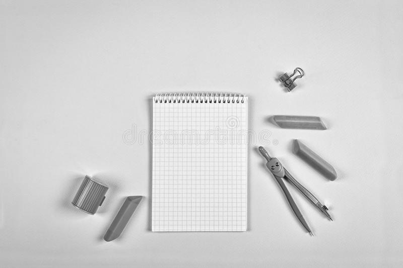Black and white. concept school, Still life,minimalism, business, planning or education concept. flat lay stock image