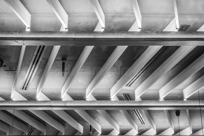 Black and white construction of roof, modern ceiling pattern royalty free stock image