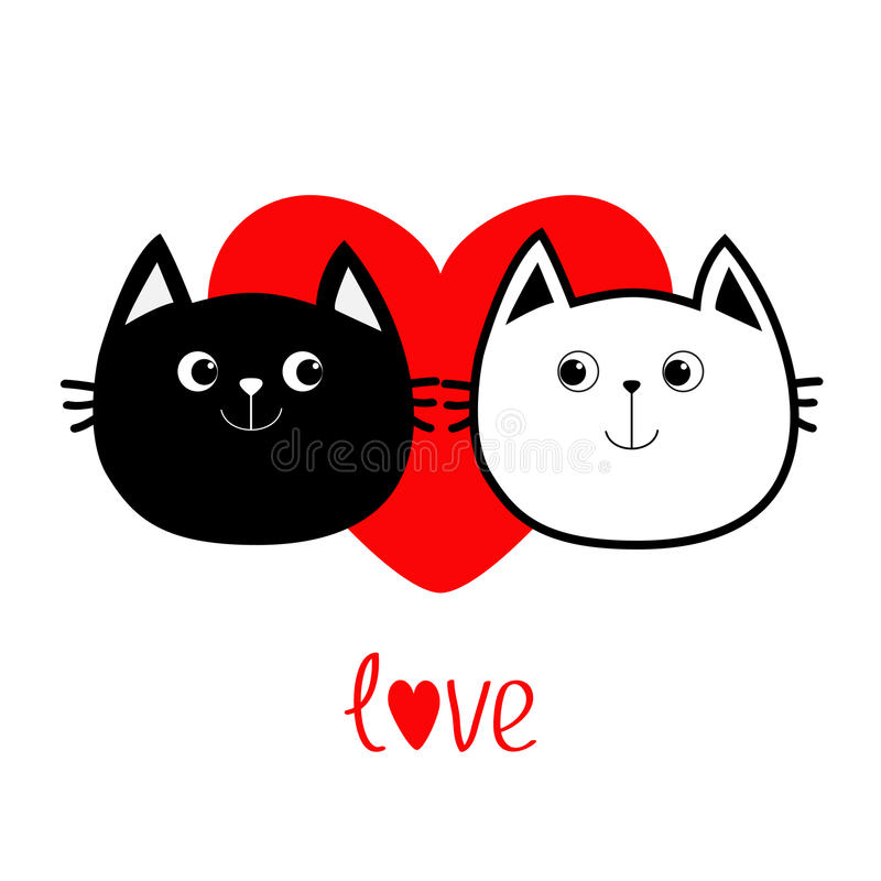 Black White contour Cat head couple family icon. Red heart. Cute funny cartoon character. Word love Valentines day Greeting card. Kitty Whisker Baby pet vector illustration