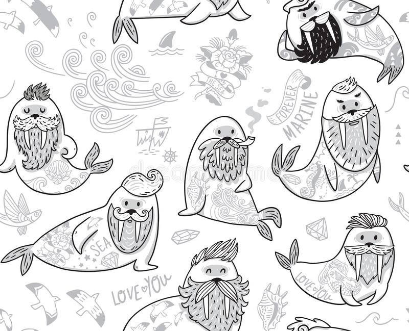 Black and white contour seamless pattern with hipster walruses with beards and tattoos in cartoon style. Ink seamless pattern with cartoon characters of funny vector illustration