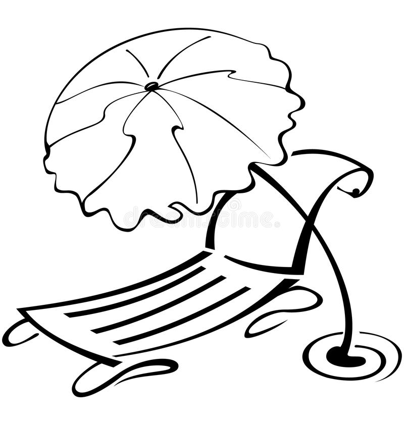 Black And White Contour Umbrella And Beach Chair Stock Photo