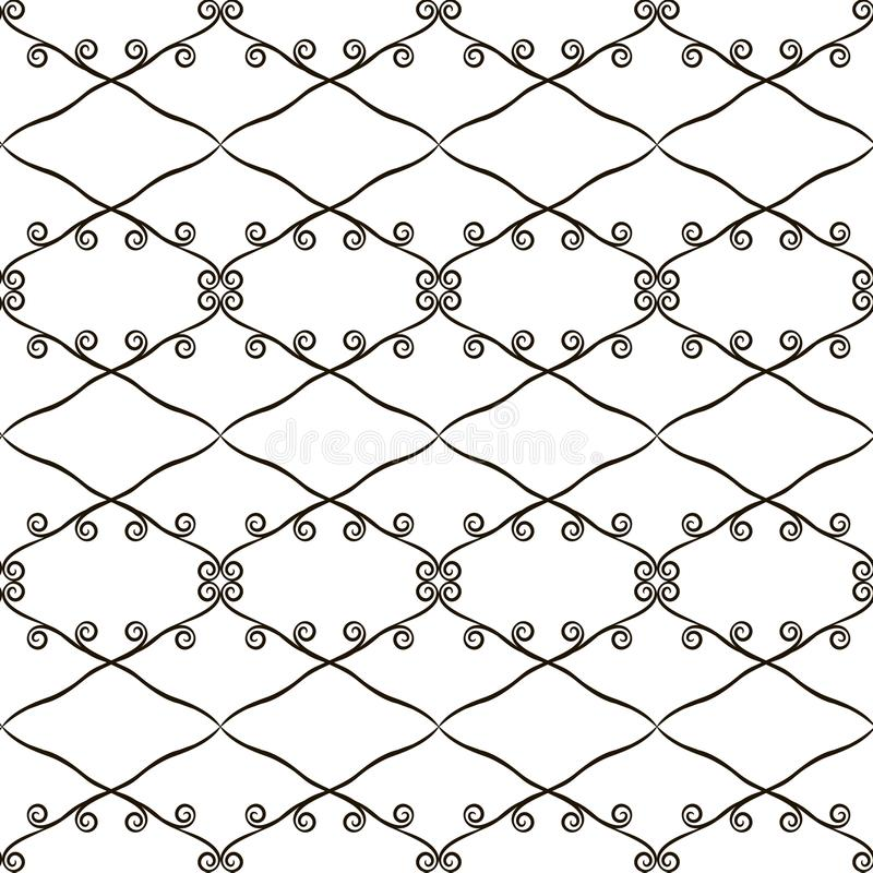 Black and white contrasting openwork seamless pattern of rhombuses and curls retro vector background royalty free illustration