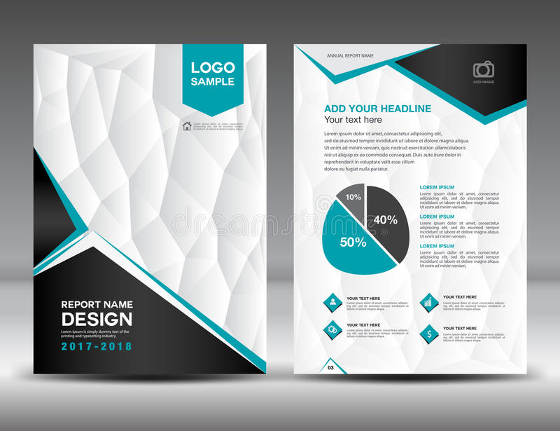 Black And White Cover Annual Report Brochure Flyer Template Stock