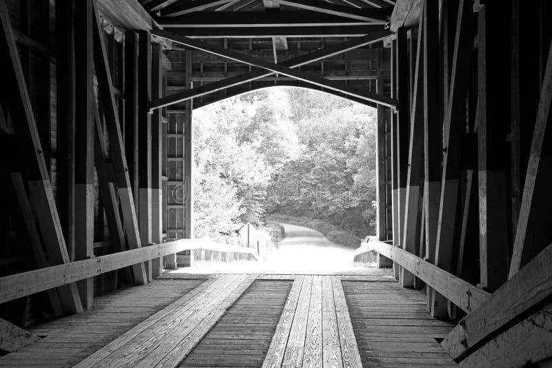 Black and White Covered Bridge royalty free stock image