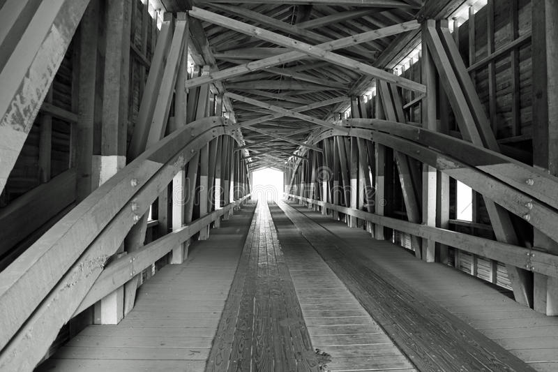 Black and White Covered Bridge royalty free stock photography