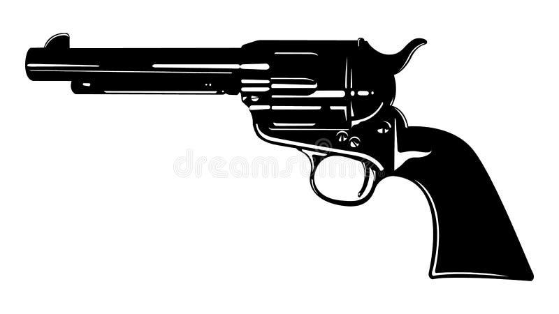 Black and White Cowboy Revolver Vector Graphic stock illustration