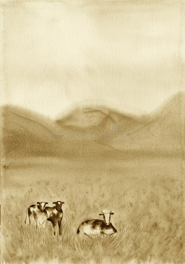 Black and white cows in a grassy meadow in The Netherlands. Rural Landscape with Pasturing Cows. Dairy animals at field. Watercolor illustration. Sepia brown stock illustration