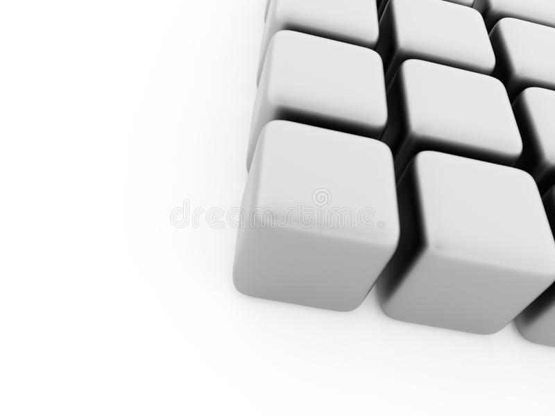 Black and white cubes concept rendered. On white background royalty free stock photography