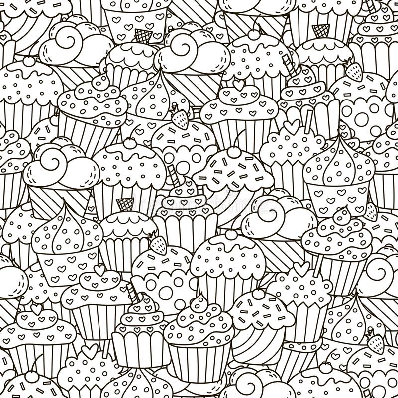 Black and white cupcakes seamless pattern stock illustration