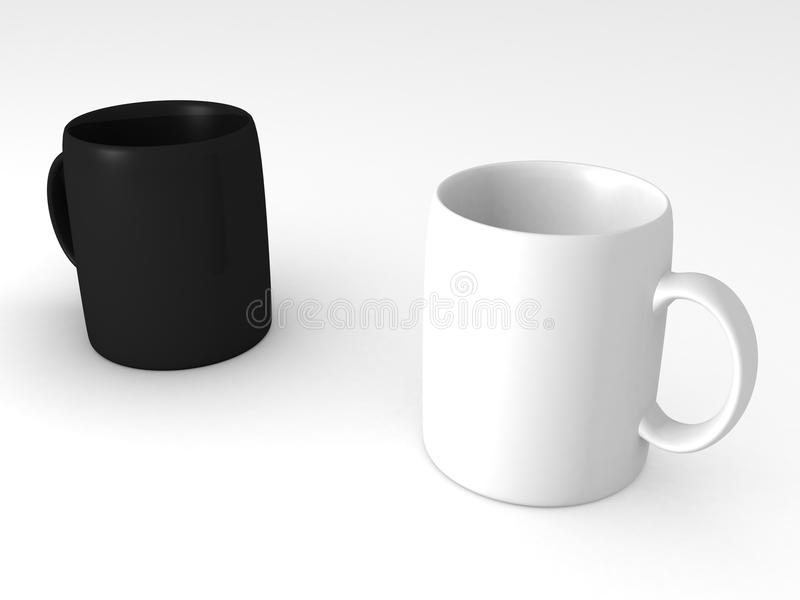 Download Black And White Cups Or Mugs Stock Illustration - Image: 21251353