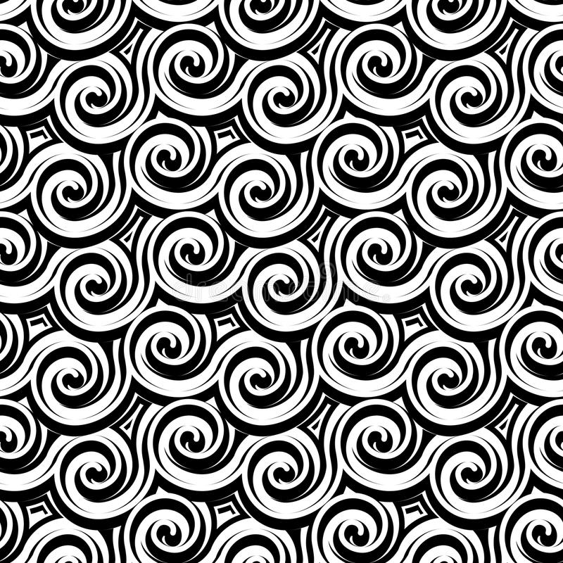 Black and white curly pattern vector illustration