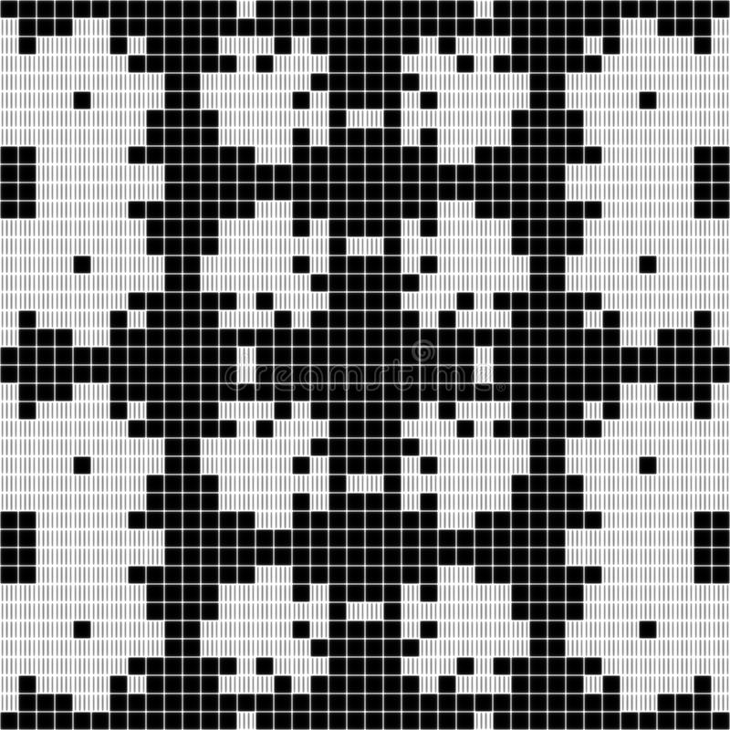 Black and white curtain lace square seamless texture background. Black and white curtain lace square geometric seamless texture background with floral pattern vector illustration