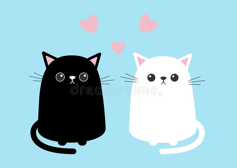 Black white cute cat sitting kitten set. Pink hearts. Cartoon kitty character. Kawaii animal. Funny face with eyes, mustaches, nos. E, ears. Love Greeting card stock illustration