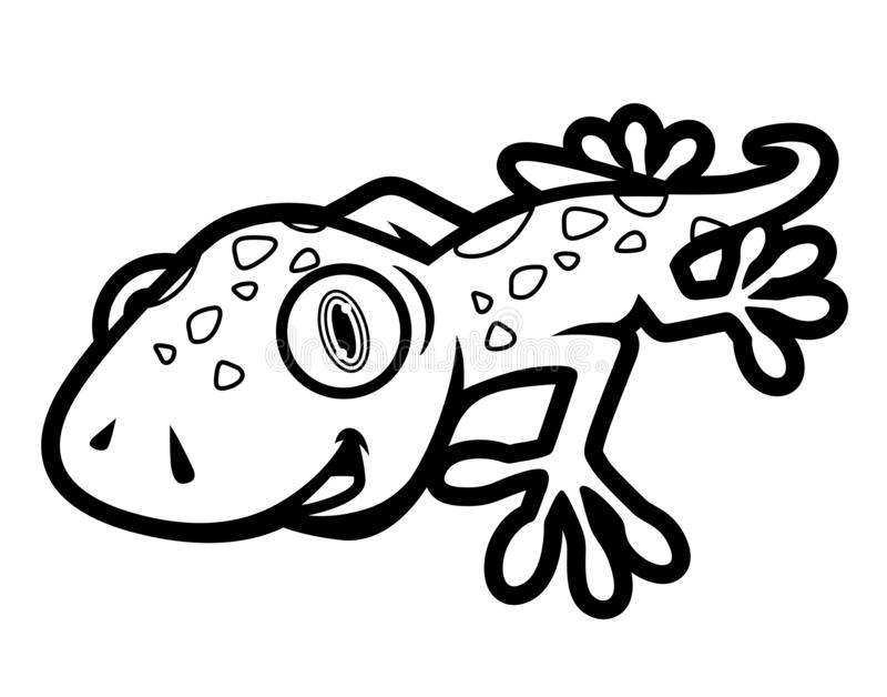 Black and White Cute Gecko Crawling Illustration in Cartoon Style for Coloring Book royalty free illustration