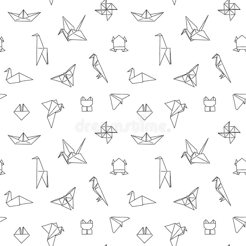 Black and White Cute Kids Seamless Pattern. Repetitive Texture with Hand Drawn Origami Animals and Objects. Vector Ink Doodle Baby Background. Cartoon Ornament royalty free illustration