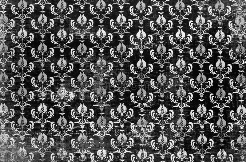 A Closeup Of Lovely Monochrome Antique Shabby Chic Damask Pattern Printed On Paper Background