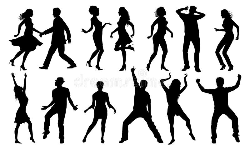 Black and white dancing silhouettes, vector set vector illustration