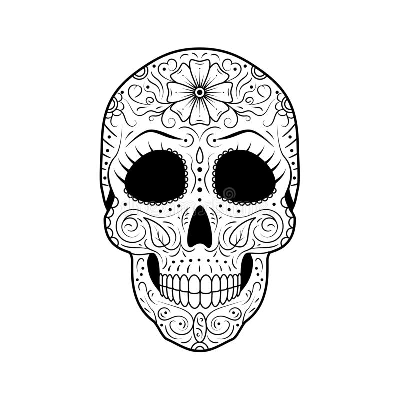 Day of The Dead Sugar Skull with detailed floral ornament. Mexican symbol calavera. Black and white vector illustration. Black and white Day of The Dead Sugar stock illustration