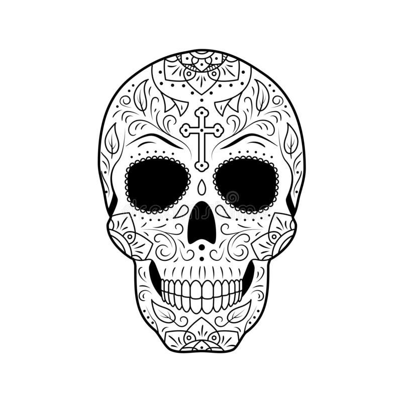 Day of The Dead Sugar Skull with detailed floral ornament. Mexican symbol calavera. Black and white vector illustration. Black and white Day of The Dead Sugar vector illustration
