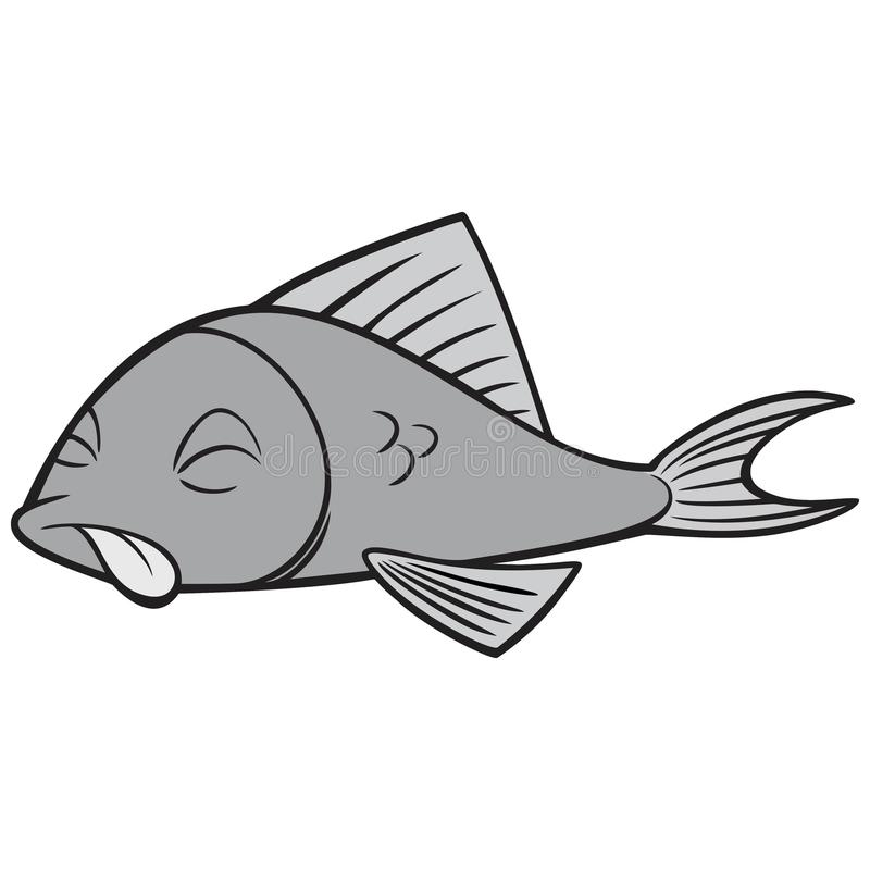 black and white dead fish stock vector illustration of cartoon rh dreamstime com dead fish cartoon picture Cute Cartoon Fish