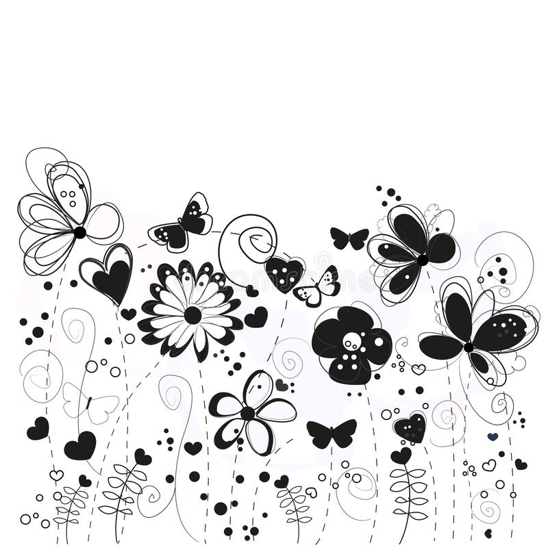 Black and white decorative abstract spring flowers illustration vector illustration