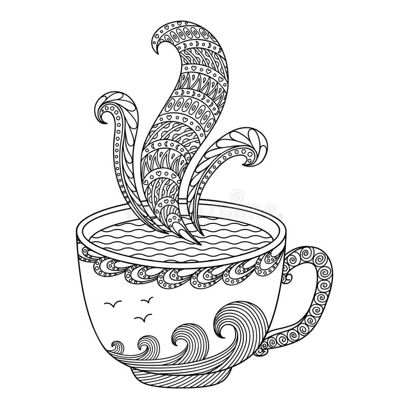 Black and white decorative cup of tea. stock illustration