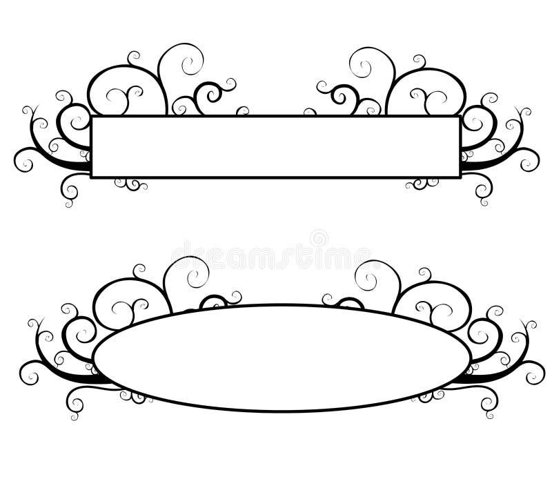 Black and White Decorative Swirls Logo royalty free illustration