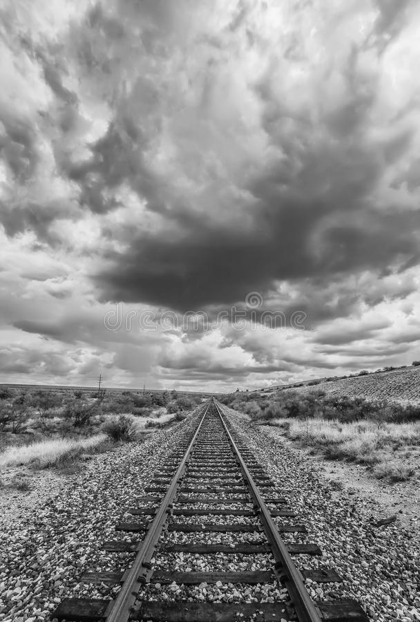 Black and White Desert Railroad Scene royalty free stock photography