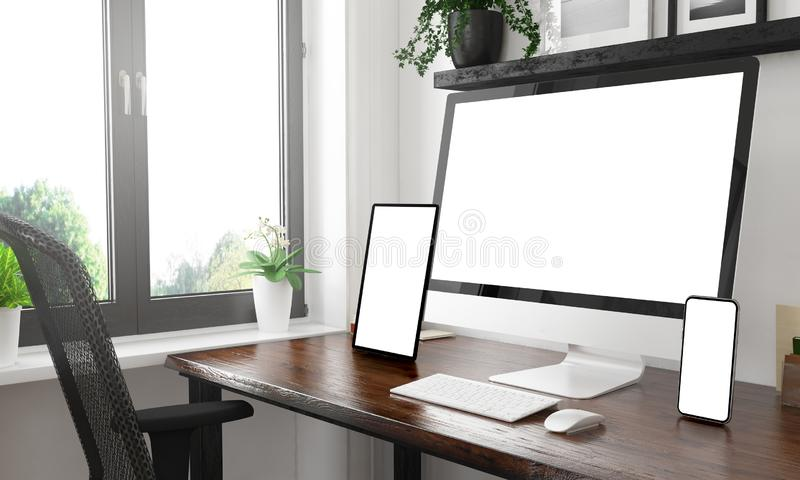 Black and white desktop with three devices showing black screens. Black and white desktop with three devices showing blank screen mockup 3d rendering stock images