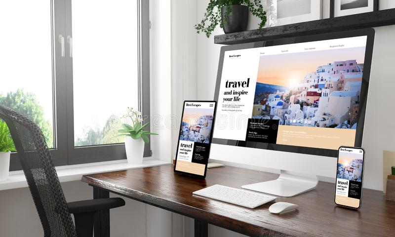 Black and white desktop with three devices showing travel blog. 3d rendering royalty free stock image