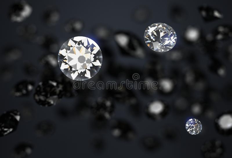 Black and white diamonds on a dark abstract background stock illustration