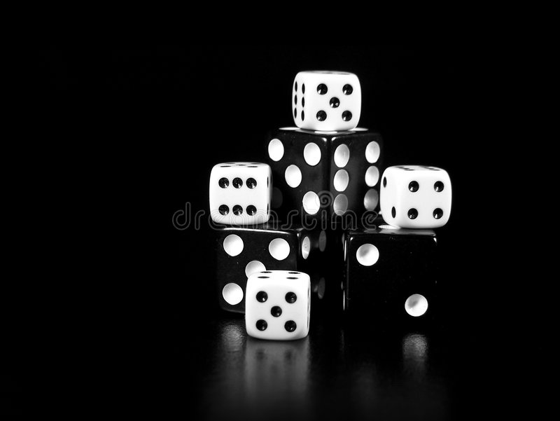 Black and white dice stock photography