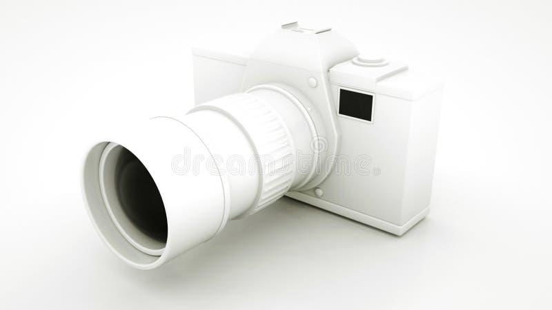 Black and White Digital DLSR Camera. 3D illustration.  stock illustration