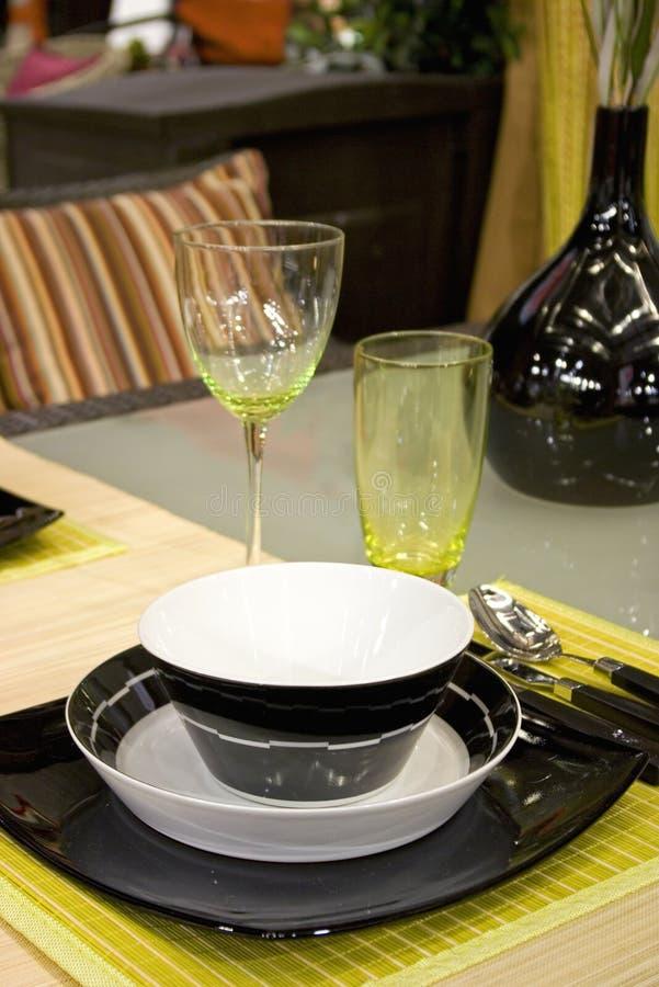Black-white dinner set royalty free stock images