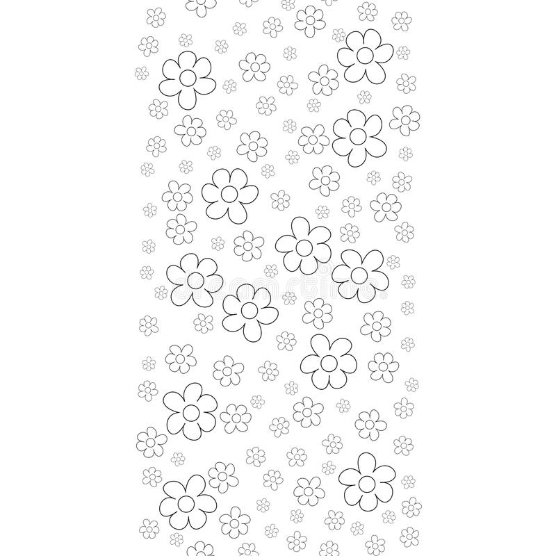 Black and White Ditsy Pattern with Small Flowers for Seamless Texture. Feminine Ornament for Textile, Fabric, Wallpaper. vector illustration