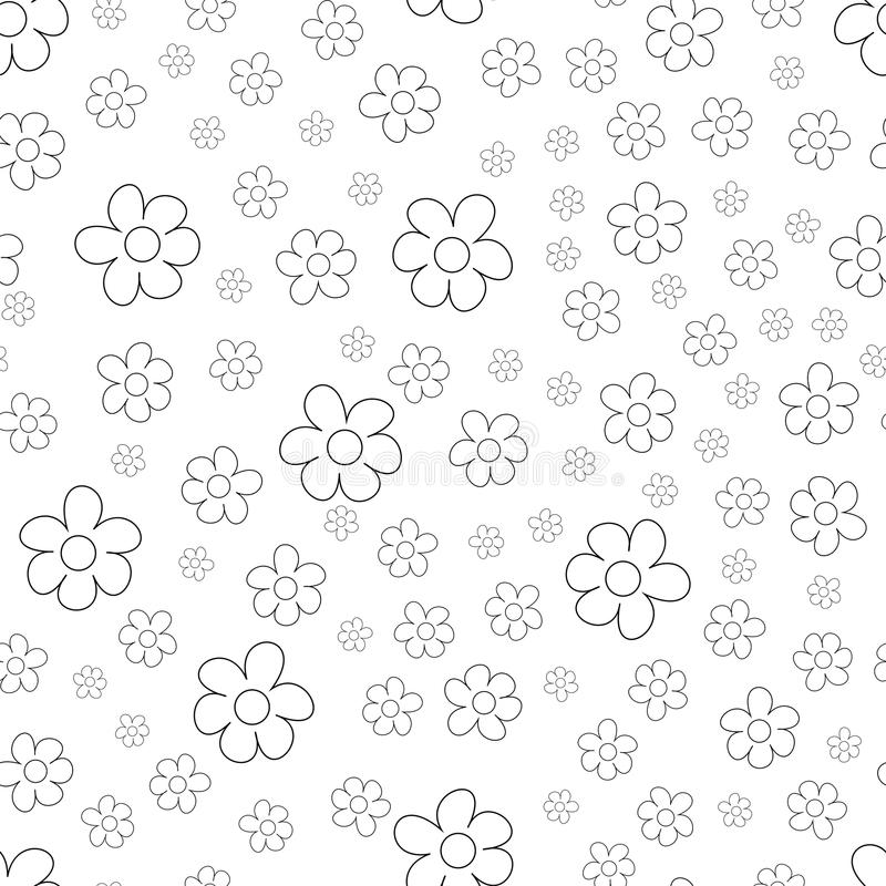 Black and White Ditsy Pattern with Small Flowers for Seamless Texture. Feminine Ornament for Textile, Fabric, Wallpaper. Black and White Ditsy Pattern with vector illustration