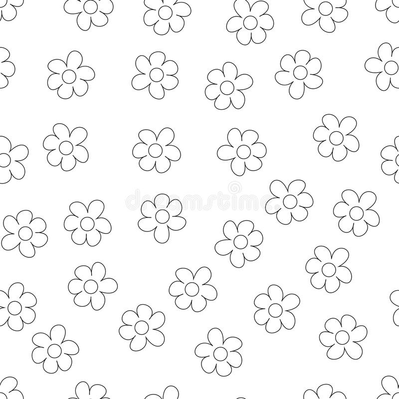 Black and White Ditsy Pattern with Small Flowers for Seamless Texture. Feminine Ornament for Textile, Fabric, Wallpaper. Black and White Ditsy Pattern with stock illustration