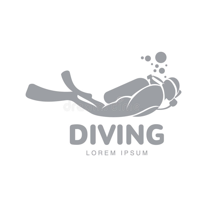 Black and white diving logo template with diver swimming underwater. Black and white graphic diving logo template with diver swimming underwater, vector vector illustration