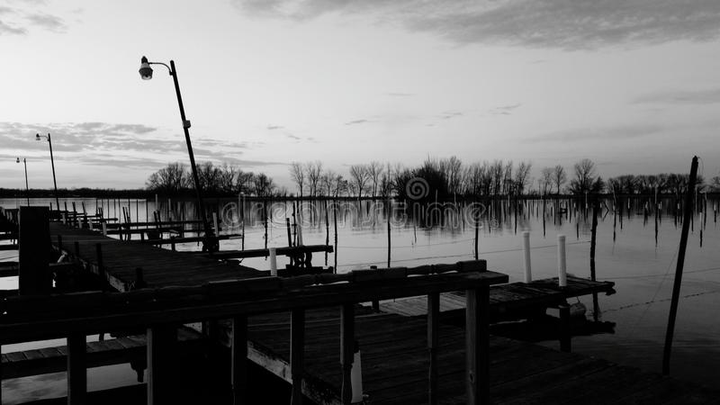 Black and white dock royalty free stock photography