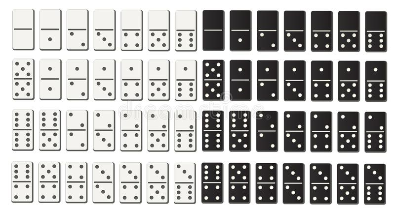 Black and white domino full set in flat design style. stock illustration