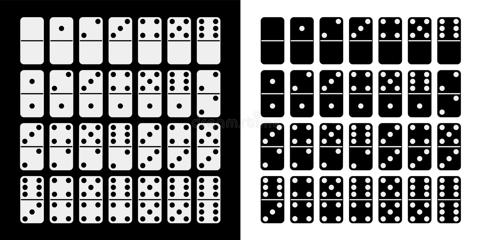 Black and white domino full set in flat design style. vector illustration