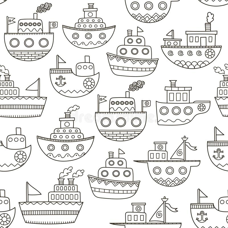 Black and white doodle boats seamless pattern stock illustration