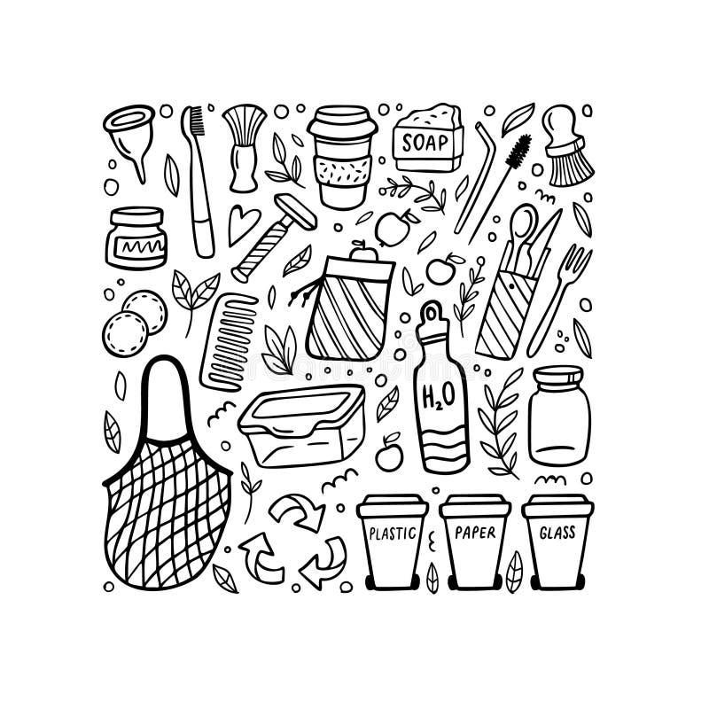 Black and white doodle elements of zero waste life. Eco-style hand-drawn vector illustration. No plastic. Go green. Vector illustration. Good for posters stock illustration