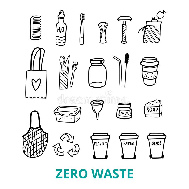 Black and white doodle elements of zero waste life. Hand-drawn bag, comb, lunch box, soap and other things in eco-style. Vector illustration. Good for posters stock illustration