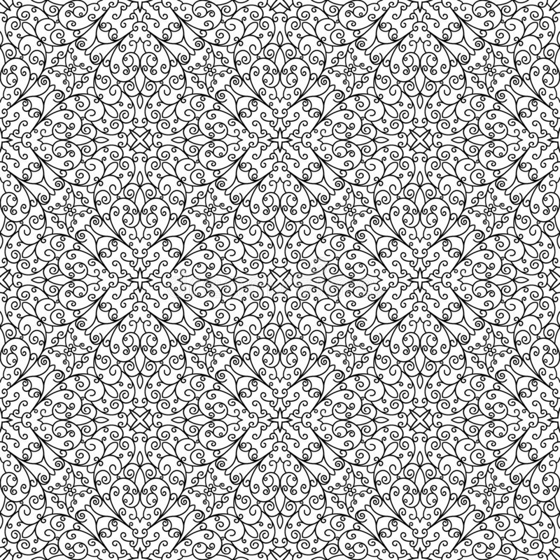 Black and white doodle lace pattern vector illustration