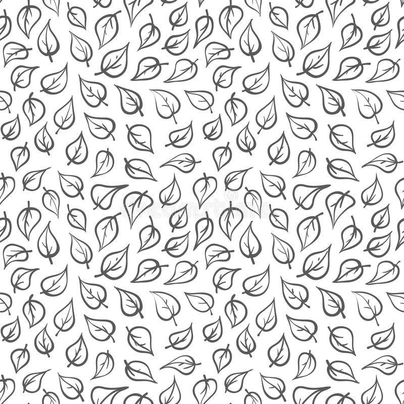 Black and White Doodle Leaf Plant Geometric Vector Seamless Pattern. Hand Drawn Pattern. stock illustration
